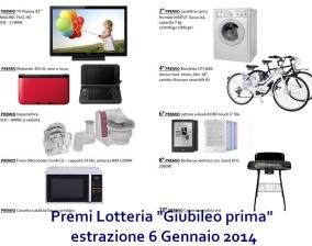 """Premi lotteria 6 Gennaio 2014 """"Giubileo prima"""""""