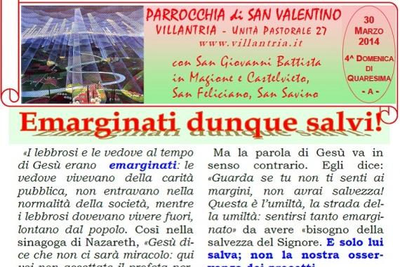 30.06.2014 – 4^ Domenica di Quaresima: Emarginati quindi salvi!