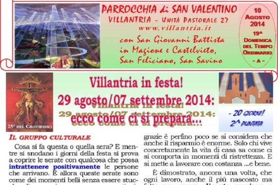 10.08.2014 – 19^ Tempo Ordinario: Villantria in festa! 29 agosto/07 settembre 2014: ecco come ci si prepara …