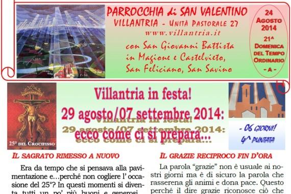 24.08.2014 – 21^ Tempo Ordinario: Villantria in festa! 29 agosto/07 settembre 2014: ecco come ci si prepara …