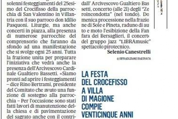 Quando la liturgia diventa musical di fede  (Il Messaggero Umbria – 27 Agosto 2014 a firma di Selenio Canestrelli)