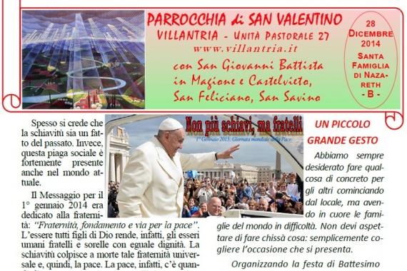 28.12.2014 – Santa Famiglia di Nazareth: Settimanale da consultare e stampare