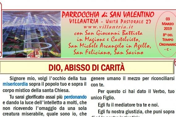 03.03.2019 – 8^ del Tempo Ordinario: Settimanale da consultare e stampare