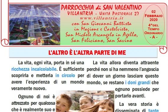 02.02.2020 – 4^ del Tempo Ordinario: Settimanale da consultare e stampare